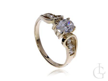 Zaręczynowy pierścionek ze złota 14 ct z cyrkoniami