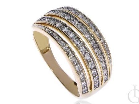 Szeroki pierścionek obrączka ze złota pr.0,585 z brylantami