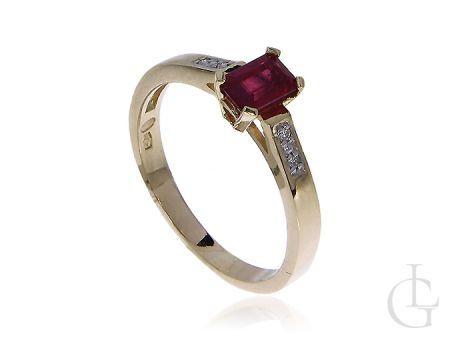 Złoty pierścionek zaręczynowy z rubinem i brylantami złoto pr.0,585