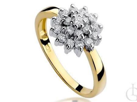 Pierścionek zaręczynowy złoto pr.0,585 z diamentami