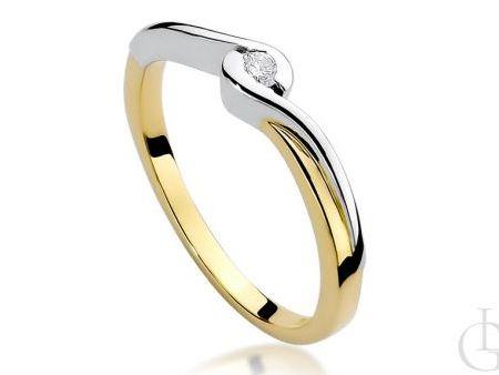Pierścionek z żółtego i białego złota pr.0,585 z brylantem na zaręczyny