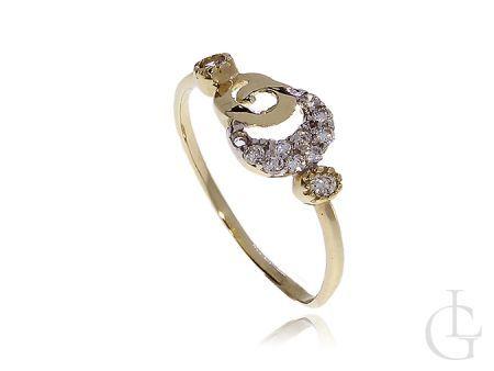 Zmysłowy pierścionek zaręczynowy złoto pr.0,585 z cyrkoniami