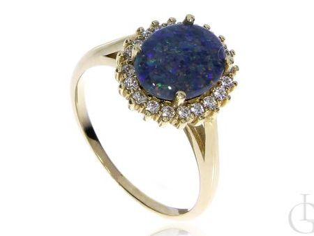 Naturalny opal błękitny złoty pierścionek zaręczynowy cyrkonie