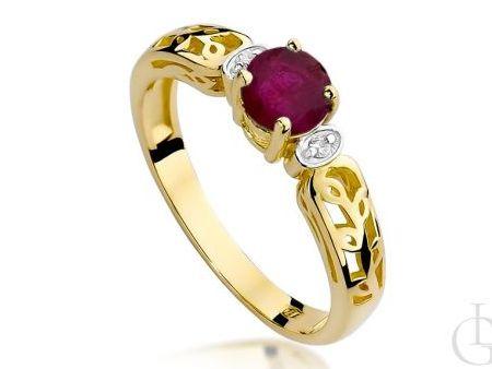 Pierścionek złoty pr.0,585 z rubinem i brylantami na zaręczyny