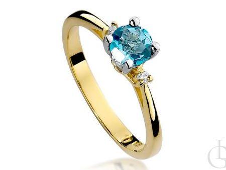 Złoty pierścionek na zaręczyny złoto pr.0,585 z topazem naturalnym i brylantami