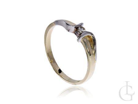 Prześliczny i delikatny pierścionek zaręczynowy z 14 k złota z diamentem