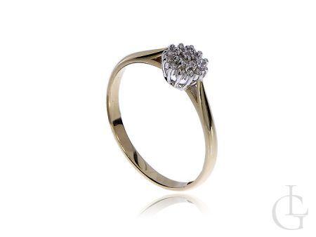 Pierścionek ze złota pr.0,585 na zaręczyny z brylantami