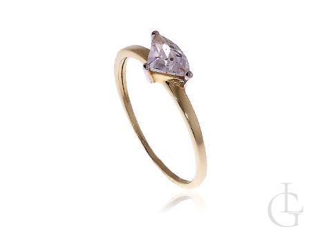 Pierścionek zaręczynowy złoto pr.0,585 z cyrkonią
