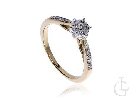 Złoty pierścionek zaręczynowy pr.0,925 z białym złotem i diamentami