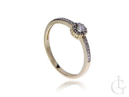 Pierścionek na zaręczyny ze złota 14 k z diamentami