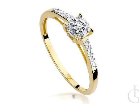 Pierścionek na zaręczyny z klasycznego złota pr.0,585 z diamentami