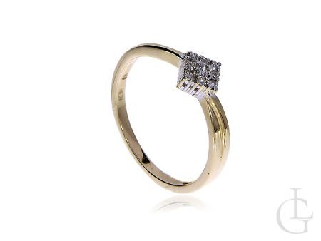 Pierścionek złoty pr.0,585 z diamentami na zaręczyny