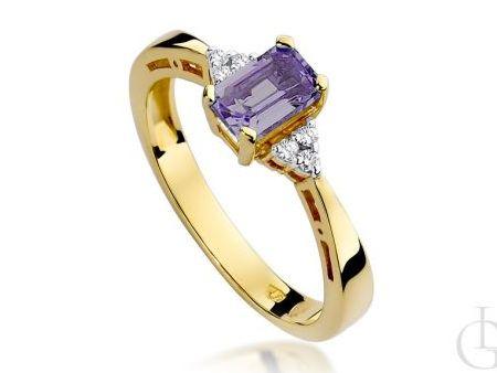 Klasyczny pierścionek z brylantami i ametystem złoto pr.0,585