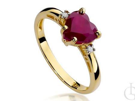 Pierścionek zaręczynowy serce z rubinem i brylantami